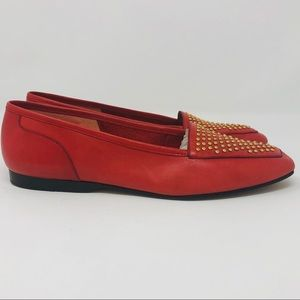 ENZO ANGLIONE Red Leather Loafers Gold Stud Toes